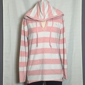 The Black Dog Pink + White Striped Pullover Hoodie